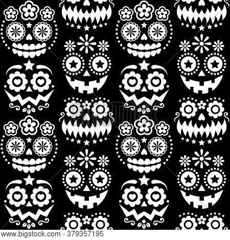 Halloween And Dia De Los Muertos Skulls And Pumpkin Faces Vector Seamless Pattern - Mexican Sugar Sk