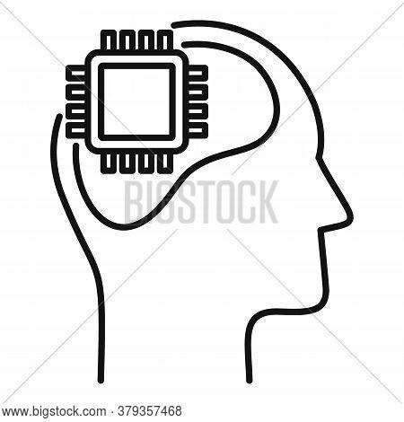 Processor Neuromarketing Icon. Outline Processor Neuromarketing Vector Icon For Web Design Isolated