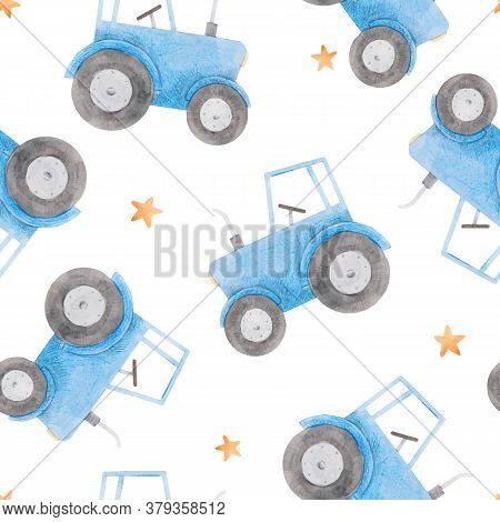 Beautiful Seamless Pattern With Watercolor Blue Tractor. Stock Illustration.