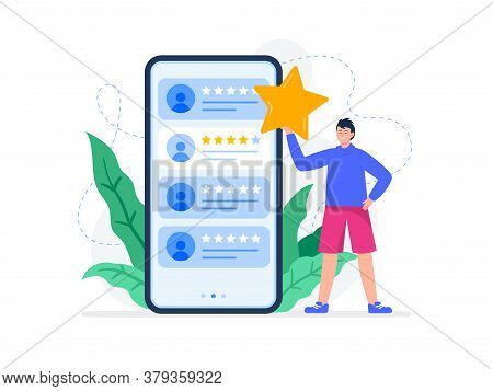 A Young Man Rating Feedback Of Customers. Useful Reviews For Customers. Choice Rating Review App, Cu