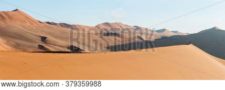 Panoramic View From The Sickle Shaped Sand Dune Next To Sossusvlei Towards The North-east. Sand Dune