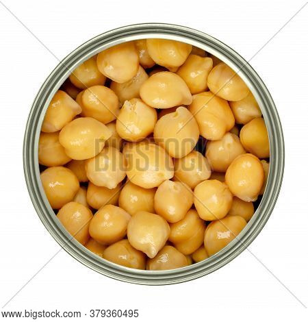 Canned Chickpeas In A Can From Above. Large Light Tan Chick Peas, Cicer Arientinum, Also Called Houm