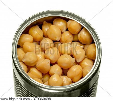 Canned Chickpeas In An Opened Tin Can. Large Light Tan Chick Peas, Cicer Arientinum, Also Called Hou