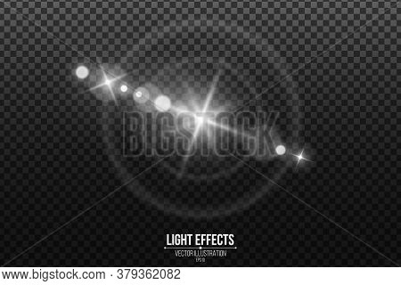 Lens Effect Isolated On A Black Transparent Background. White Glare And Flare. Abstract Lights Bokeh