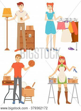 People Second Retail, Man And Woman Buying Or Selling Goods, Furniture And Clothes. Accessories And