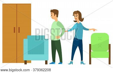 Couple Of People Choosing Furniture Together Isolated On White. Wooden Cupboard And Colorful And Com