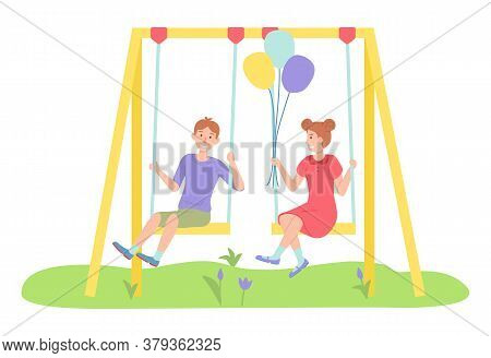 Children Spending Time At Playground, Kindergarten, Kids Have Fun, Recreation, Girl With Air Balloon
