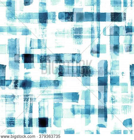 Abstract Grunge Cross Geometric Shapes Contemporary Art Teal Color Seamless Pattern Background. Wate