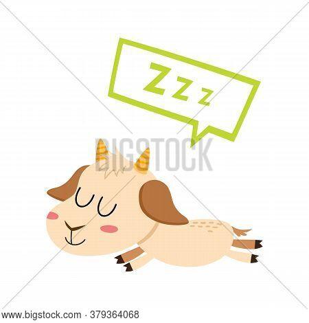 Sleeping Adorable Animal Character Isolated On White.
