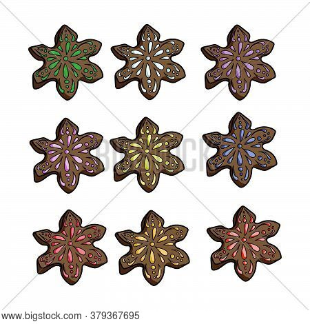 Set Of Gingerbread Like Snowflakes With Different Colors Of Icing, Brown Gingerbread For Christmas,