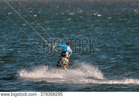 Walvis Bay, Namibia - June 8, 2011: A Windsurfer In The Lagoon In Walvis Bay On The Atlantic Ocean C