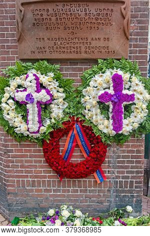 Amsterdam, Netherlands - April 25,2020:Wreaths in memorial of the victims of the Armenian Genocide in the Ottoman Empire, 1915