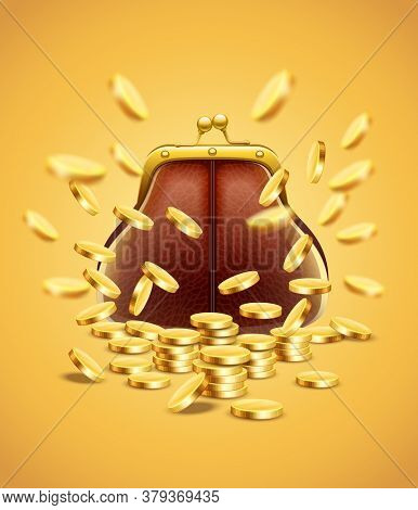 Classic vintage purse with gold coins money crumbling and falling down jackpot concept. 3D illustration.