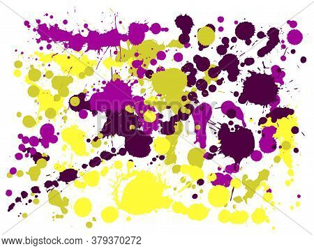 Gouache Paint Stains Grunge Background Vector. Scribble Ink Splatter, Spray Blots, Dirty Spot Elemen