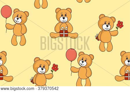 Teddy Bear Seamless Background. Cute Greeting Bears. Vector Image For Children