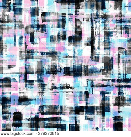 Abstract Grunge Cross Geometric Shapes Contemporary Art Multicolor Seamless Pattern Background. Wate