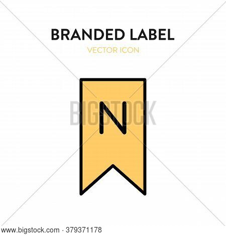 Brand Label Icon. Vector Illustration Of Label Tag With The Logo Letter N. Represents Concept Of Bra