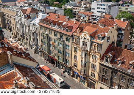 Sarajevo, BiH - August 28, 2019: Panorama cityscape of Sarajevo city center at summer, Bosnia and Herzegovina