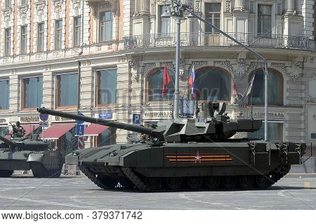 Moscow, Russia - June 20, 2020:russian T-14 Armata Battle Tank On A Heavy Tracked Platform On Tversk