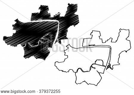 Hai Duong City (socialist Republic Of Vietnam) Map Vector Illustration, Scribble Sketch City Of Hai