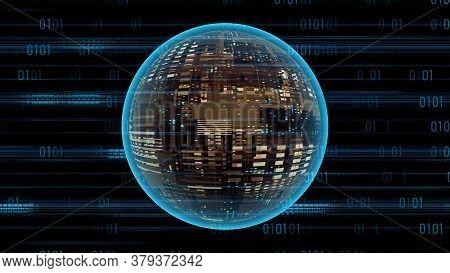 Blue Binary Code And Glowing Sci-fi Sphere. Abstract Cyber Futuristic Technology Background, 3d Rend