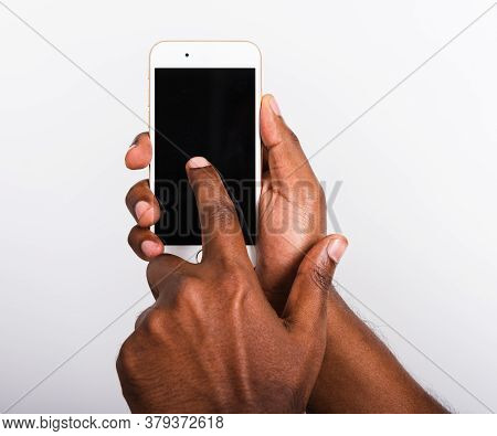 Closeup Hand Black Man Holding Mockup White Modern Digital Mobile Smart Phone Blank Screen On Hand A