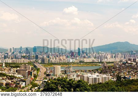 Seoul, South Korea - June 3, 2017: View Of Seoul From The Ansan Mountain In Sunny Day, South Korea