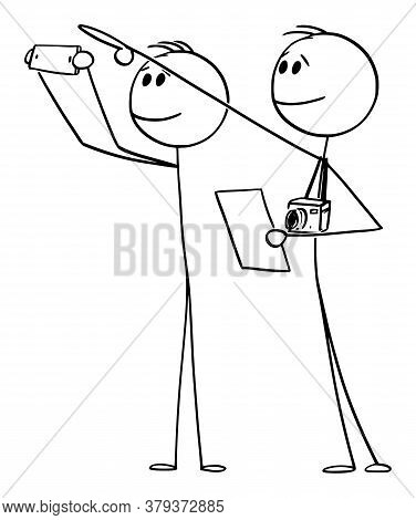 Cartoon Stick Figure Drawing Conceptual Illustration Of Two Tourists With Cameras Pointing And Looki