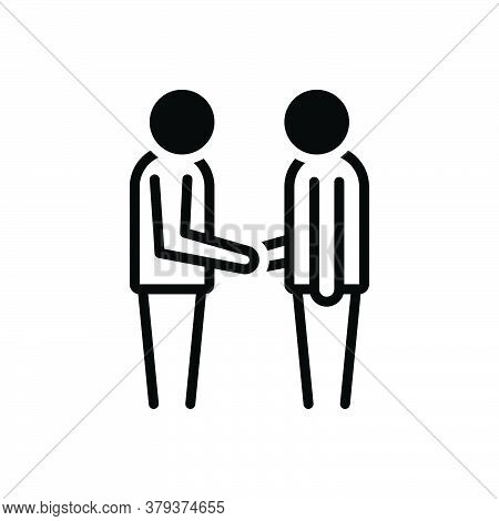 Black Solid Icon For Your-welcome Your Welcome Handshake Person Friends Meeting