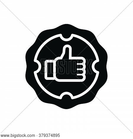 Black Solid Icon For Guarantee Confident Guaranteed Persuaded Thumb Ok Completed Secure Stamp