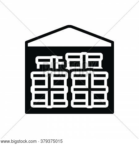 Black Solid Icon For Merchandise Business Trading Commerce Market Goods Cargo Warehouse Storeroom