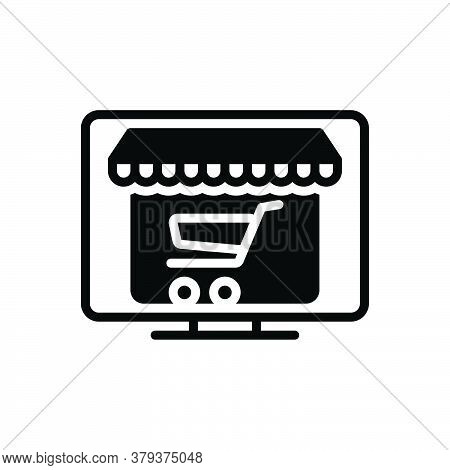 Black Solid Icon For Online-shopping Online Shopping Internet Retail Laptop Cart Purchase Market Sto