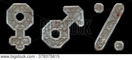Set of symbols female, male, percent made of industrial metal on black background 3d rendering