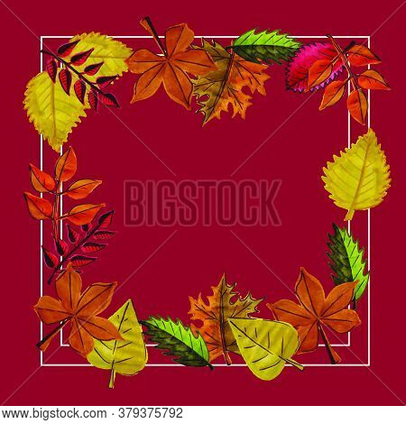 Frame. Autumn Set Of Leaves Of Different Trees. Yellow, Red, Orange, Maple, Birch, Oak. Hand-painted