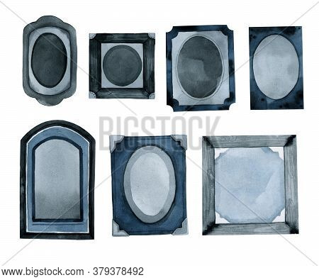 Blue Vintage Photo Frames Watercolor Drawing Hand Drawing Set