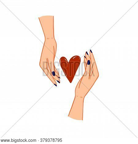 The Red Heart Inside Two Female Hands Vector. Two Woman Palms With Heart Shape Between Them. Care, P