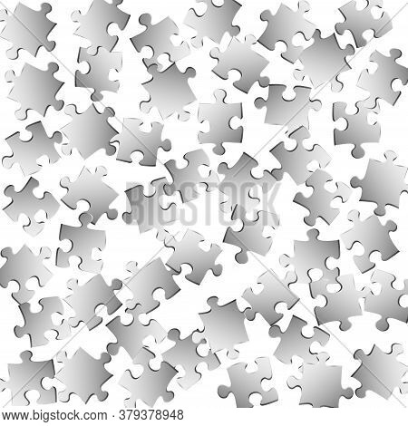 Business Mind-breaker Jigsaw Puzzle Metallic Silver Pieces Vector Background. Scatter Of Puzzle Piec