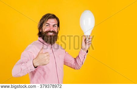 Thumb Up For Success. Business Idea And Creativity Symbol. Bearded Thinking Man Hold Bulb. Energy Sa