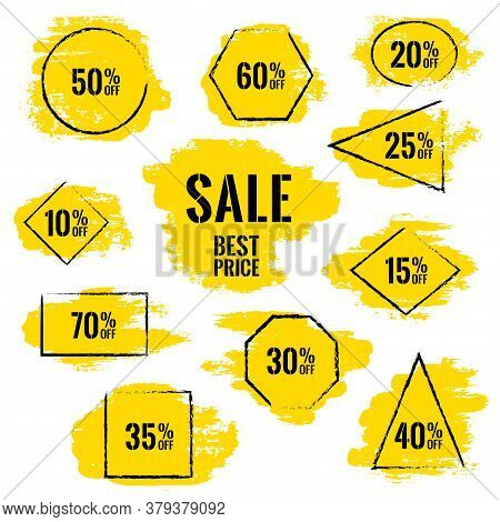 Marketing Banners For Sale Vector Collection. Advertising Banners With Geometric Shape Borders, Fram