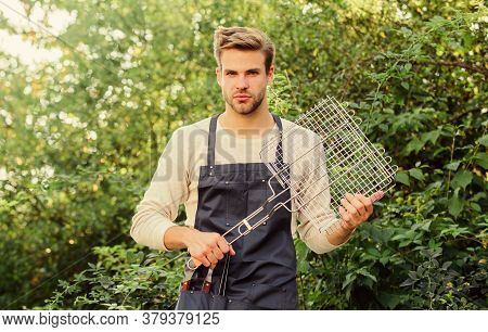 Perfect Summer Lunch. Culinary. Chef Cooking Bbq Food. Man Barbecue Grill. Picnic Cooking Utensils.