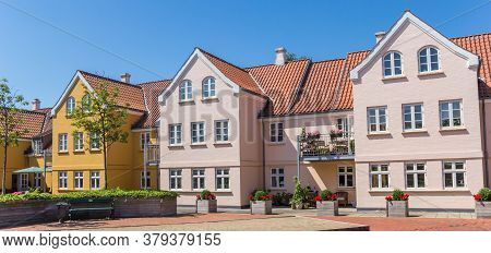 Panorama Of Colorful Houses In The Center Of Ribe, Denmark