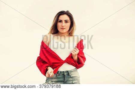 Pretty Woman Enjoy Wearing Street Style Clothes. Stylish Girl Outdoors. Street Style. Most Budget Fr