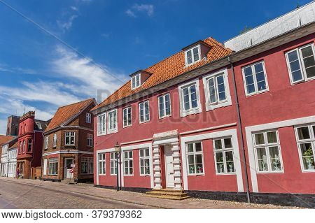 Colorful Red Facades In The Streets Of Ribe, Denmark
