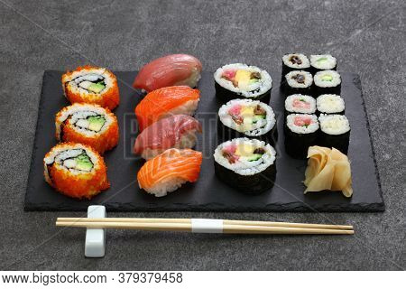 It's an assortment of Japanese sushi.