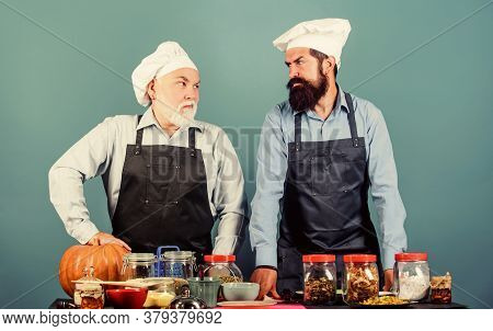 Homemade Meal. Father And Son Culinary Hobby. Family Restaurant. Mature Bearded Men Professional Res