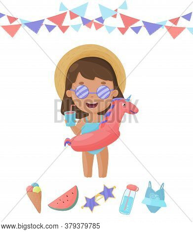 Pool Party Girl In Swimsuit And Sunglasses Wearing Rings To Have Fun In Pool. Cartoon Cute Kid In Ha
