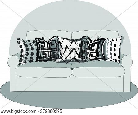 Illustration In The Vector Of A Sofa With Five Isolated Pillows. Isolated Pieces Of Furniture. Color