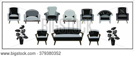 A Set Of Beautiful Fashionable Plain, Black And White, Gray And Black Velvet Armchairs And Sofa. Flo