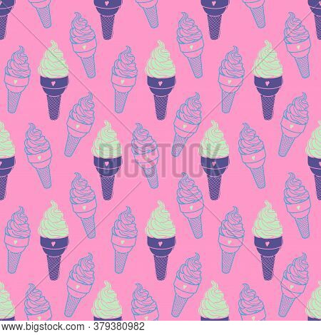 Seamless Cute Ice Cream Pattern. Hand-drawn Colorful Summer Food Vector. Doodle Ice-cream On Pink Ba