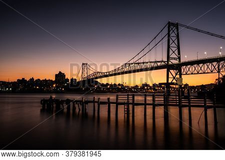 Cable Stayed Bridge Hercilio Luz In Florianopolis, Santa Catarina, Brazil, At Sunset With Colorful S